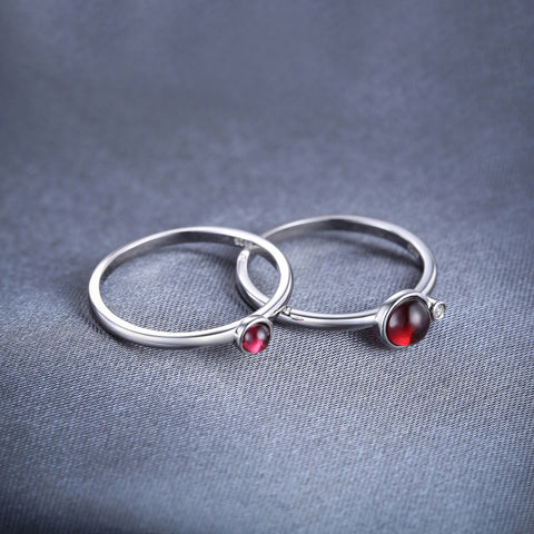 Image of Pair of Round Sterling Silver Garnet Ring for Women Born in January