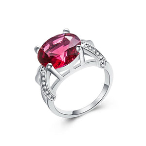 Pink Tourmaline & White Silver Ring for Women Born in October