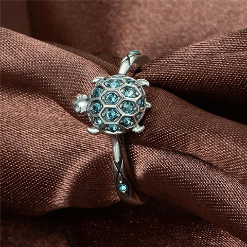 Image of Zircon Jewelry 925 Sterling Silver Fashion Jewelry Lovely Turtle  Rings For Women