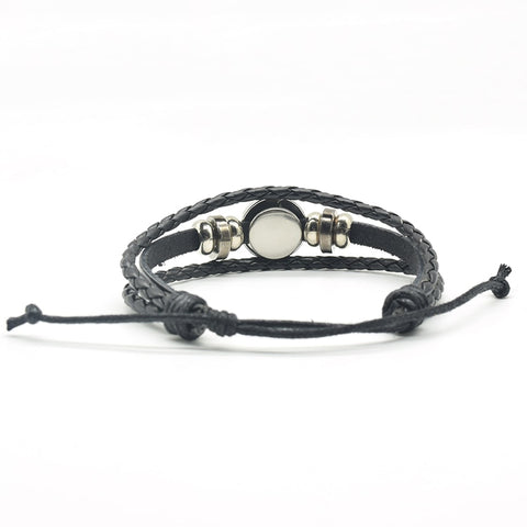 Image of Black Cat Rope Bracelet Gothic Full Moon Jewelry Weave Multilayer Leather Bracelet for Men Women