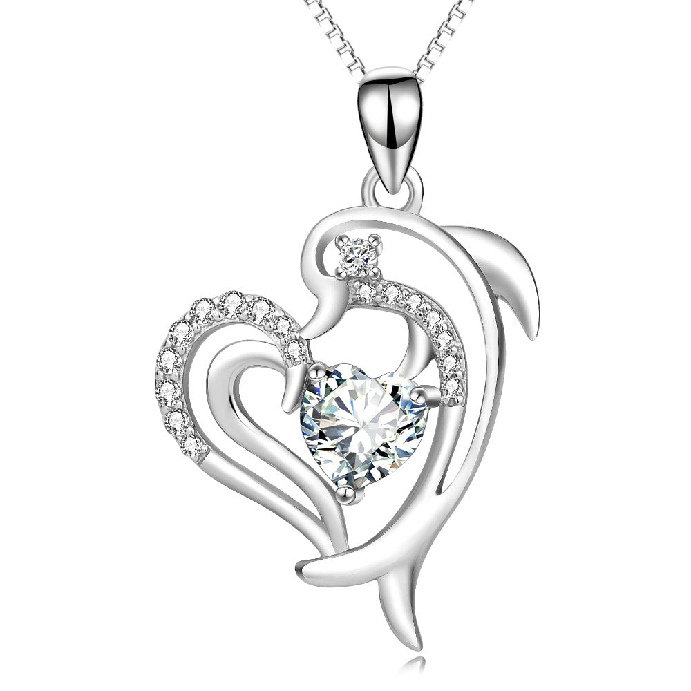 925 Sterling Silver Dolphin Cubic Zirconia Crystal Pendant Necklace