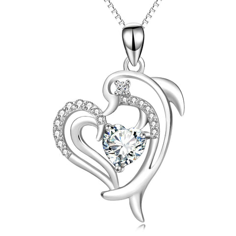 Image of 925 Sterling Silver Dolphin Cubic Zirconia Crystal Pendant Necklace