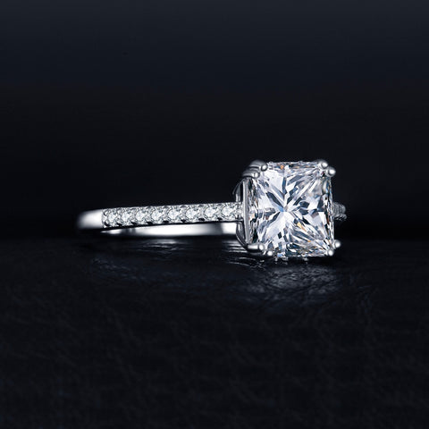 Image of Lovely Engagement Solitaire Ring Genuine 925 Sterling Silver