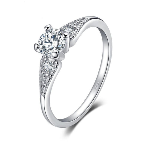 0.7 Cubic Zirconia 3 Stone Engagement Ring Real 925 Sterling Silver