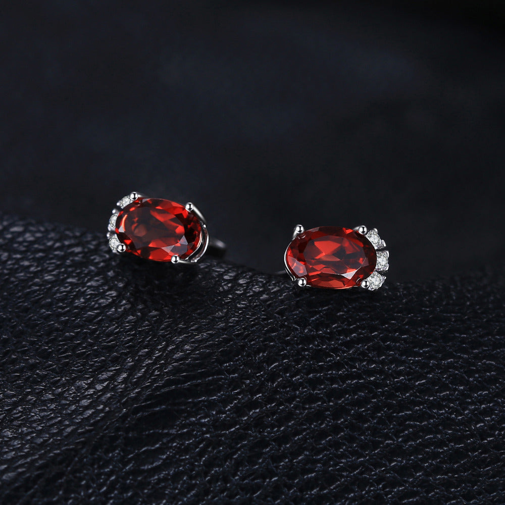 1.2ct Oval Natural Garnet Stud Earrings For Women Born in January