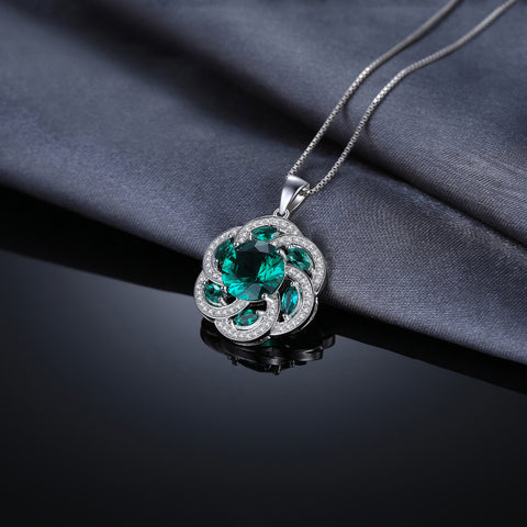 Flower Simulated Emerald Pendant for Women Born in May
