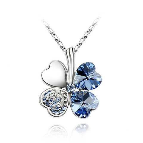 2018 Heart Chains Silver Crystal Clover Charm Pendants Fine Jewelry Statement Necklaces