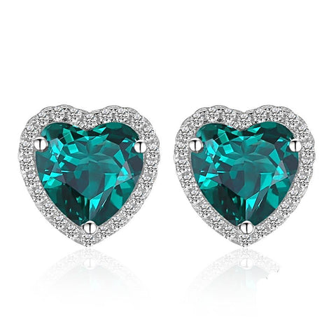 The Heart Earrings in Emerald