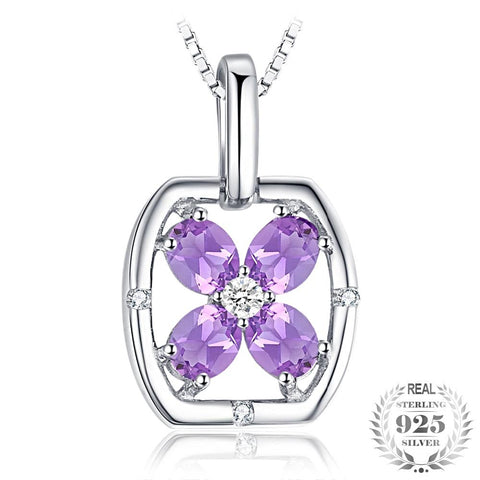 Image of Flower 0.6ct Oval Natural Purple Amethyst Pendant 925 Sterling Silver Gemstone Jewelry