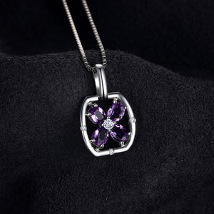 Flower 0.6ct Oval Natural Purple Amethyst Pendant 925 Sterling Silver Gemstone Jewelry