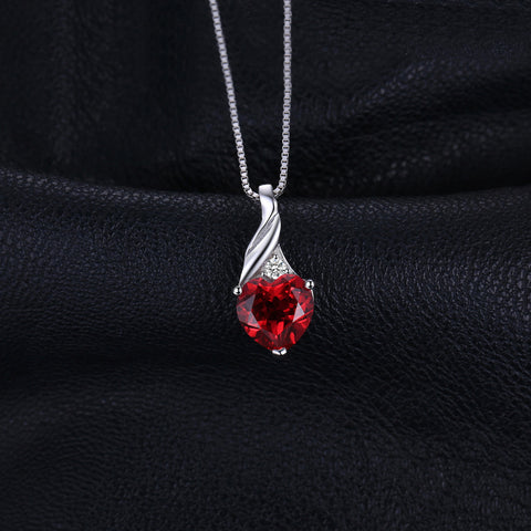 Dropped Heart Pendant in Ruby