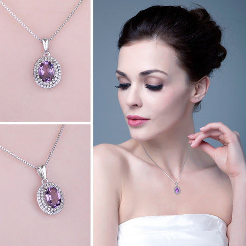 Classic 1.8ct Natural Amethyst Halo Pendants Genuine 925 Sterling Silver