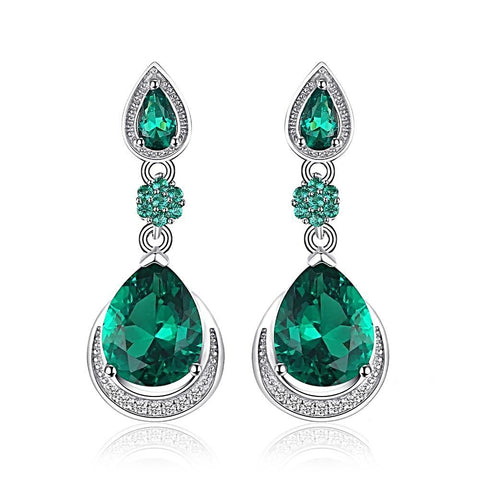 Double Teardrop Earrings in Emerald