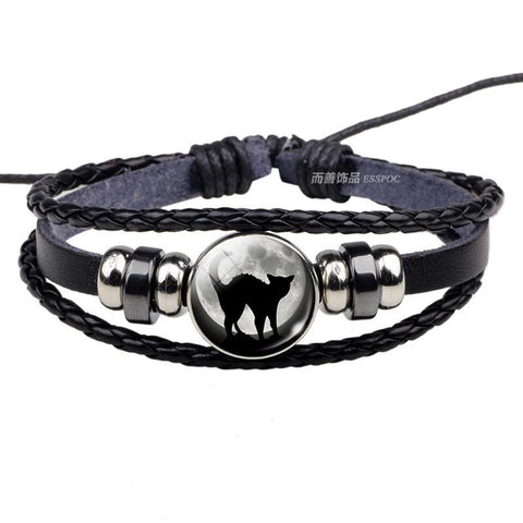 Black Cat Rope Bracelet Gothic Full Moon Jewelry Weave Multilayer Leather Bracelet for Men Women
