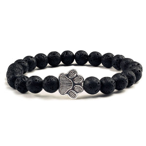 Natural Matte Black Lava Volcanic Stone Paw Charm Bracelet Homme Femme Pet Memorial Cat Dog Lovers Bracelets