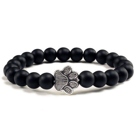 Image of Natural Matte Black Lava Volcanic Stone Paw Charm Bracelet Homme Femme Pet Memorial Cat Dog Lovers Bracelets
