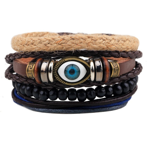 Image of Weave Punk Vintage Cuff Beads Evil Eye Charm Unisex