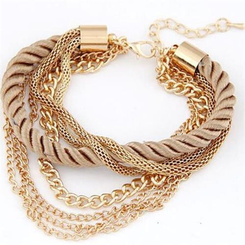 Image of MINHIN Fashionable Rope Chain Decoration Bracelet For Girl Six Color Hot Selling Bracelet For Summer Party Special Accessory