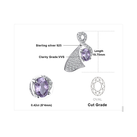 Irregular 0.4ct Oval Cut Genuine Amethysts Pendant in 925 Sterling Silver
