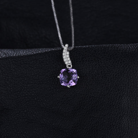 1.55 ct Lattice Square Amethysts Pendant 925 Sterling Silver with Gemstone