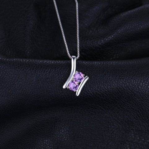 0.6ct Genuine Amethysts 2 Stone Pendant For Women