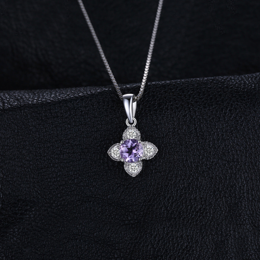 Flower 0.7ct Round Amethysts Pendant Necklace For Woman 100% 925 Sterling Silver 45cm Box Chain Choker Necklace
