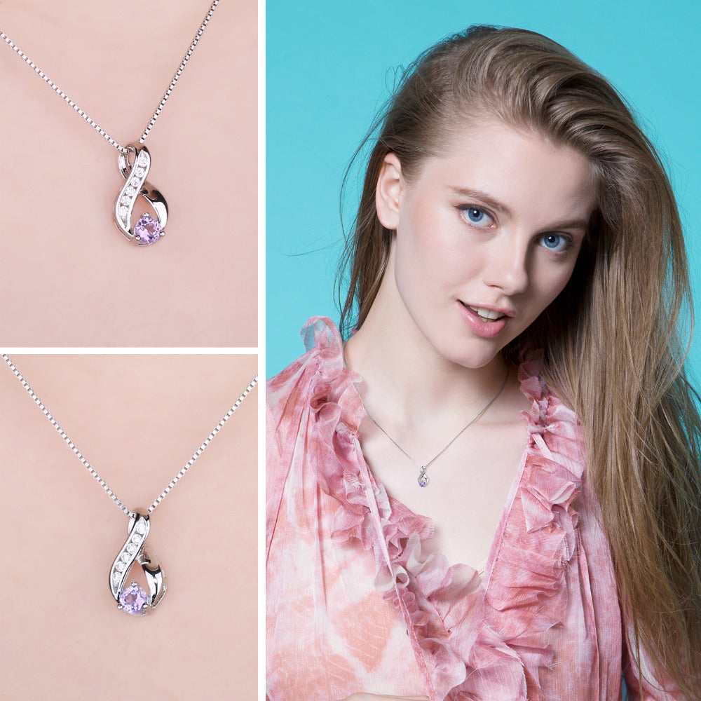0.3ct Genuine Amethysts Anniversary Pendant Necklace