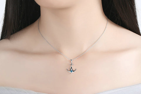 Classic 925 Sterling Silver Blue Heart Crystal Anchor Pendant Necklaces Women Fashion Jewelry