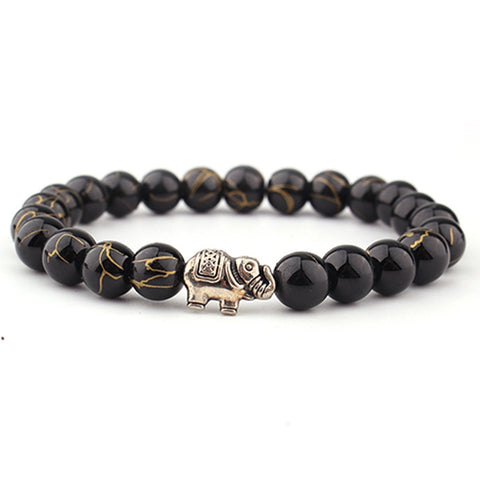 Image of Beaded Elephant Spiritual Bracelet With Natural Stone Buddha Bangles Healing Energy Unisex Bracelet