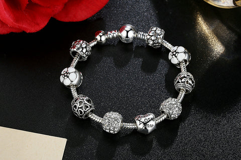 Image of Antique Silver Charm Bracelet & Bangle with Love and Flower Beads | 4 Colors | 18CM 20CM 21CM