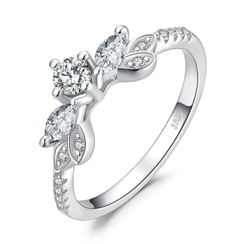 Image of Leaf 0.9ct Cubic Zirconia Anniversary Ring in 925 Sterling Silver