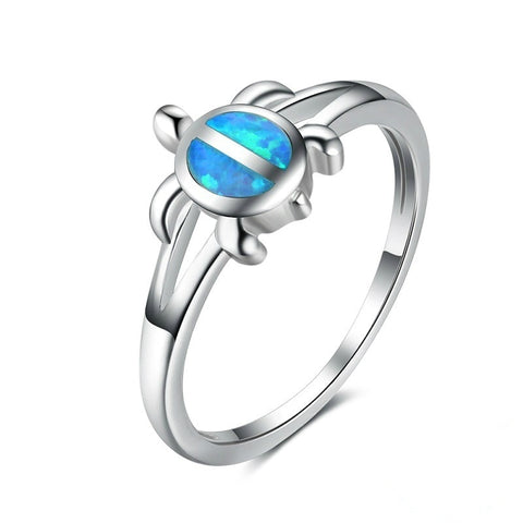 Unique Silver Filled Blue Opal Sea Turtle Finger Ring For Women Girl Crystal Wedding Band Fashion Cute Animal Party Jewelry Gift