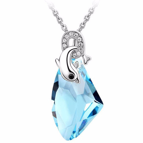 2017 brand design party gift high quality gold color austrian Crystal Dolphin Pendant Necklace