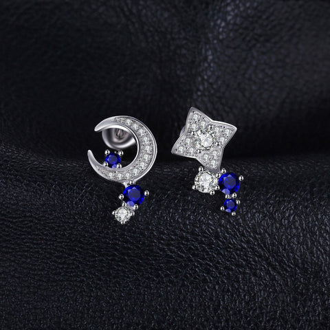 Moon & Star 0.8ct Created Sapphires Stud Earrings 100% Real 925 Sterling Silver