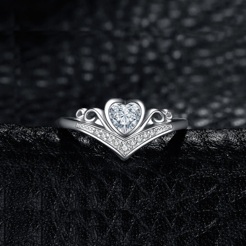 Image of Cubic Zirconia Promise Wedding Engagement Ring in 925 Sterling Silver