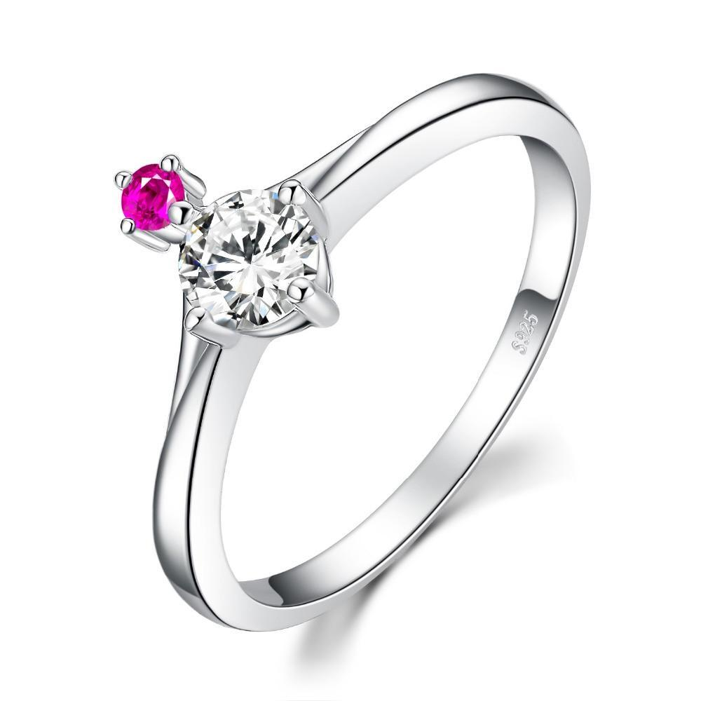 Endless Love Cubic Zirconia Created Pink Sapphire Ring in 925 Sterling Silver