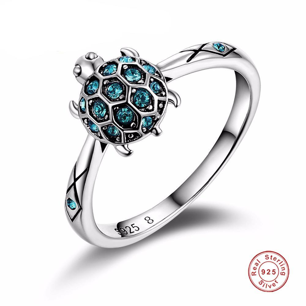 Zircon Jewelry 925 Sterling Silver Fashion Jewelry Lovely Turtle  Rings For Women