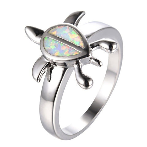 Image of Unique Silver Filled Blue Opal Sea Turtle Finger Ring For Women Girl Crystal Wedding Band Fashion Cute Animal Party Jewelry Gift
