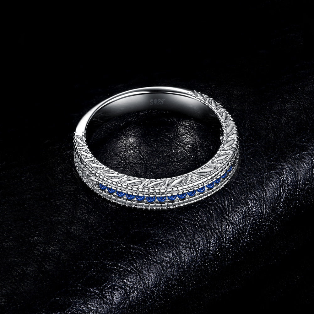 Created Sapphire Cubic Zirconia Ring in 925 Sterling Silver