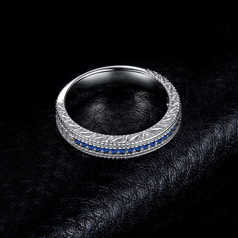 Image of Created Sapphire Cubic Zirconia Ring in 925 Sterling Silver