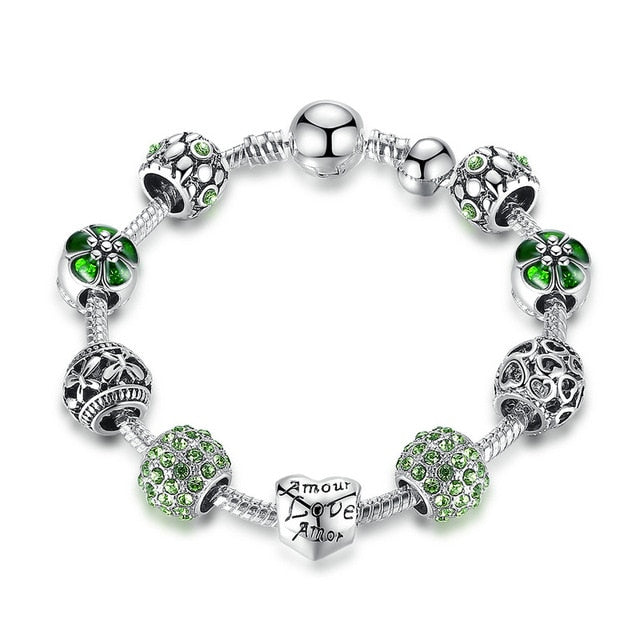 Antique Silver Charm Bracelet & Bangle with Love and Flower Beads | 4 Colors | 18CM 20CM 21CM