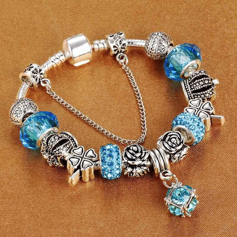 Image of European Style Vintage Silver plated Crystal Charm Bracelet Women fit Original DIY Brand Bracelet Jewelry