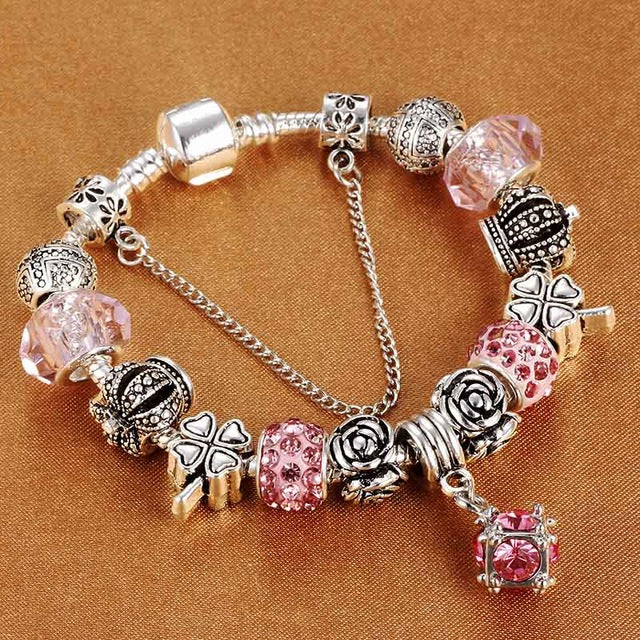 European Style Vintage Silver plated Crystal Charm Bracelet Women fit Original DIY Brand Bracelet Jewelry