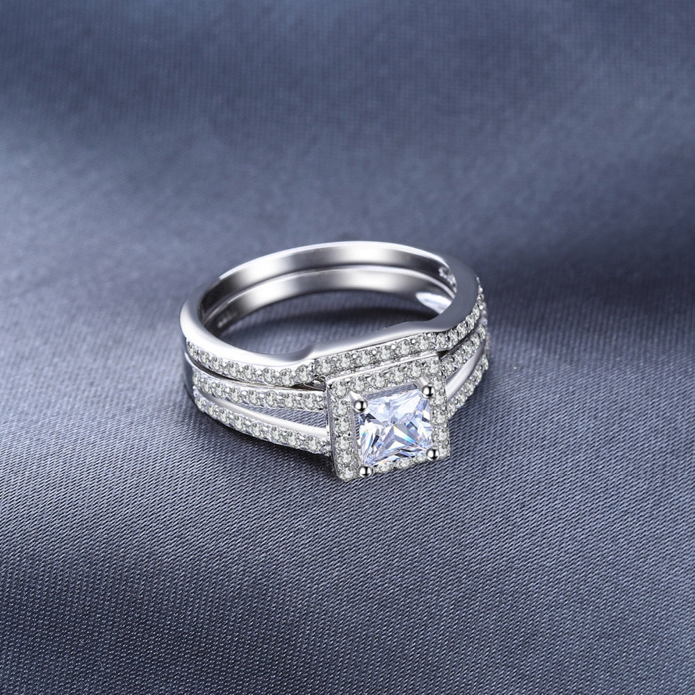 Cubic Zirconia Wedding Engagement Ring in 925 Sterling Silver