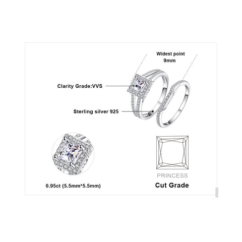 Image of Cubic Zirconia Wedding Engagement Ring in 925 Sterling Silver