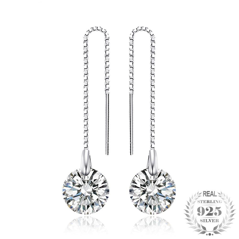 Round 8mm 5.0ct Linked Earrings 925 Sterling Silver in Zirconia