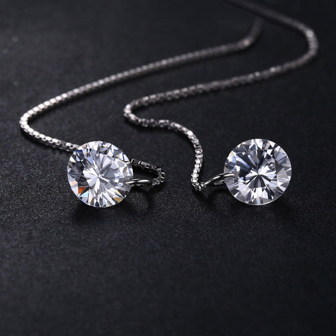 Image of Round 8mm 5.0ct Linked Earrings 925 Sterling Silver in Zirconia