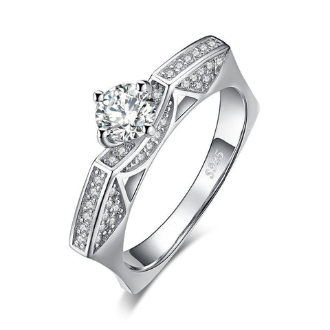 1ct Round Cut Cubic Zirconia Solitaire Cathedral Ring in 925 Sterling Silver