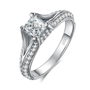 2.3ct Princess Cut Cubic Zirconia Solitaire Engagement Ring in 925 Sterling Silver