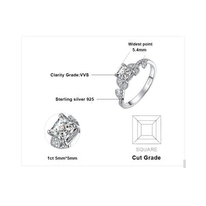 1.1ct Princess Cut Cubic Zirconia Solitaire Engagement Ring in 925 Sterling Silver